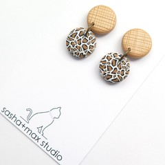 Leopard Print Gold Mini embossed drop earrings by Sasha+Max studio