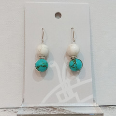 Sterling Silver Wire Wrapped Earrings - White Turquoise Marble