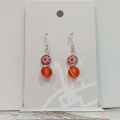 Sterling Silver Wire Wrapped Earrings - Milli Fleur Lilac Orange