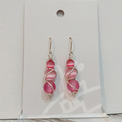 Sterling Silver Wire Wrapped Earrings - Marcie Pink