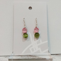 Sterling Silver Wire Wrapped Earrings - Spring Star Pink Kiwi