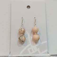 Sterling Silver Wire Wrapped Earrings - Cream Marble