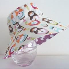 Girls wide brim summer hat in matryoshka fabric