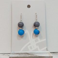 Sterling Silver Wire Wrapped Earrings - Blue Grey