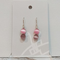 Sterling Silver Wire Wrapped Earrings - Spring Star Pink Lilac