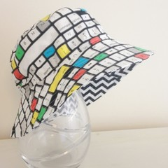 Boys summer hat in keyboard fabric