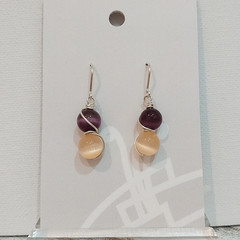 Sterling Silver Wire Wrapped Earrings - Spring Star Purple Peach