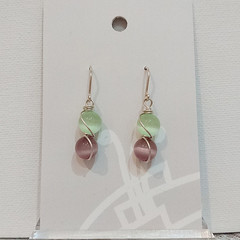 Sterling Silver Wire Wrapped Earrings - Spring Star Lilac Mint