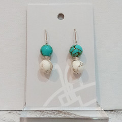 Sterling Silver Wire Wrapped Earrings - Turquoise White Marble