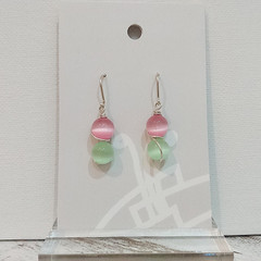 Sterling Silver Wire Wrapped Earrings - Spring Star Pink Mint