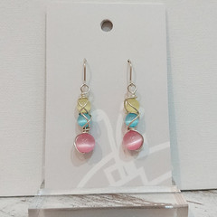 Sterling Silver Wire Wrapped Earrings - Summer Bliss Pink
