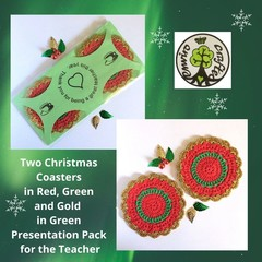 Two Christmas Coasters in Green Presentation Pack for the Teacher