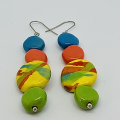 Make Me Smile Collection - Colour Me Happy. Kazuri Bead Earrings.