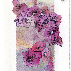 """FLORALS"" ART CARDS -Set of 4 Signed Hand Made Cards by Val Fitzpatrick"