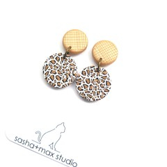 Leopard Print Gold line embossed drop earrings by Sasha+Max studio