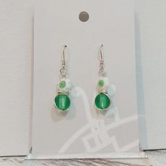 Sterling Silver Wire Wrapped Earrings - Milli Fleur Green