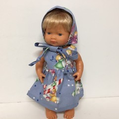 Miniland Dolls Christmas Dress and Bonnet to fit 38cm Dolls