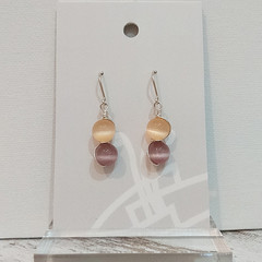 Sterling Silver Wire Wrapped Earrings - Spring Star Lilac Peach