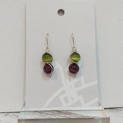 Sterling Silver Wire Wrapped Earrings - Spring Star Purple Kiwi