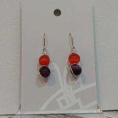 Sterling Silver Wire Wrapped Earrings - Spring Star Purple Orange
