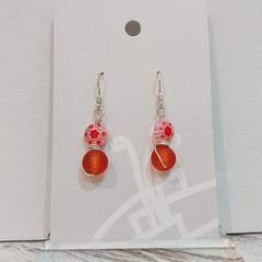 Sterling Silver Wire Wrapped Earrings - Milli Fleur Orange