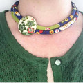 Kimono Cord Necklace Apple Green and Red Florals