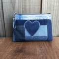 Upcycled Denim Pouch - Heart