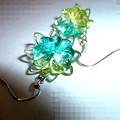 Green crystal agate carved flower earrings