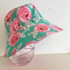 Girls wide brim summer hat in roses  fabric
