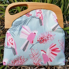 Sky blue Galah bag with Off set wooden Handle