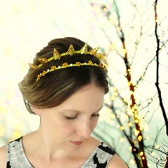 Gold crown, spike crown, gold rose crown, alternative wedding, gothic bride
