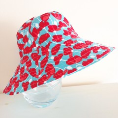 Girls wide brim summer hat in poppy is fabric
