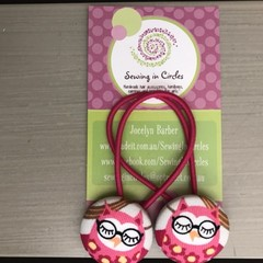 Pink owls  hair ties