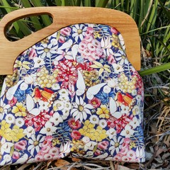 May Gibbs Floral bag with Wooden off set handle
