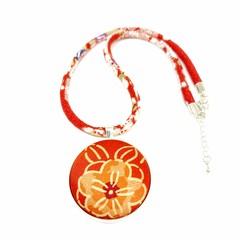 Kimono Necklace/Pendant - Red Florals