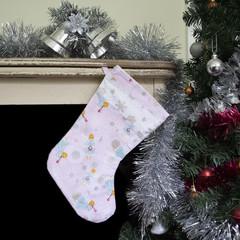 Pink Angel Christmas Stocking, Christmas decor, holiday decor