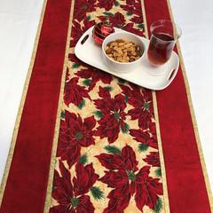 Poinsettia Christmas Table Runner Handmade