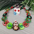 Christmas Hoot Owl -  Necklace Buttons and Polymer - Jewellery - Earrings