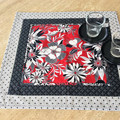 Handmade Decorative Table Mat in black white and red