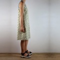Organic Cotton Shift Dress in Natural and Olive with Blue Ribbing and Pockets