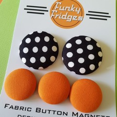 Black Polka Dots with Orange  Flat Magnet Set
