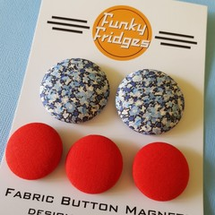 Blue Floral Flat Magnet Set