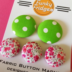 Green Polka Dots with Pink Floral  Flat Magnet Set