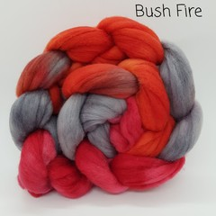 Hand Painted Wool Roving- BUSHFIRE