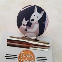 Kangaroo & Joey  Magnetic Bulldog Clip