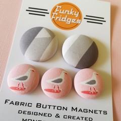 Grey & Pink Seagulls Flat Magnet Set