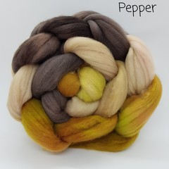 Hand Painted Wool Roving- PEPPER