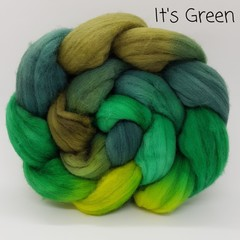 Hand Painted Wool Roving- IT'S GREEN
