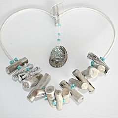 Driftwood Heart  with featured beads and shell
