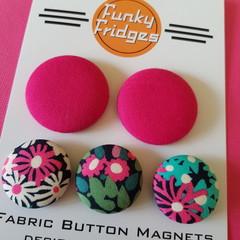 Hot Pink Floral Flat Magnet Set